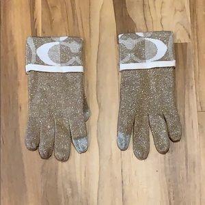 Coach Tech Gloves Gold, Silver, White